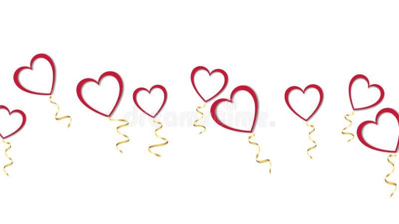 红色气球与阴影和情人节快乐的一条金黄丝带美好的抽象纹理以心脏的形式 皇族释放例证