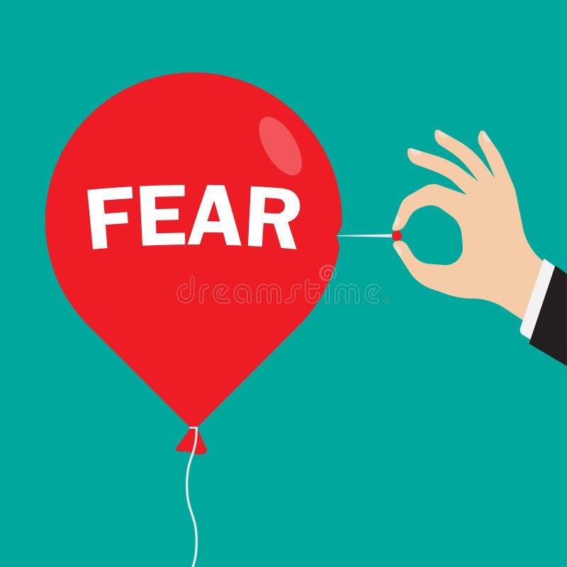 红色气球以题字恐惧 皇族释放例证