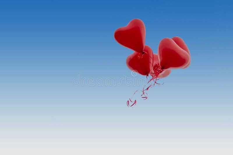 红色气球在水平的蓝天的婚礼飞行 免版税库存照片