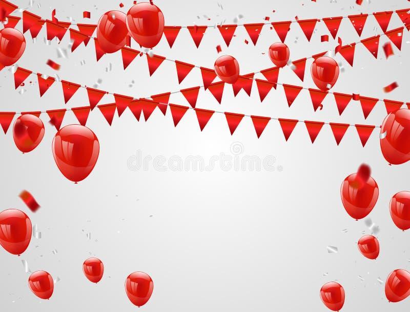 红色气球,五彩纸屑概念 庆祝传染媒介例证 库存例证