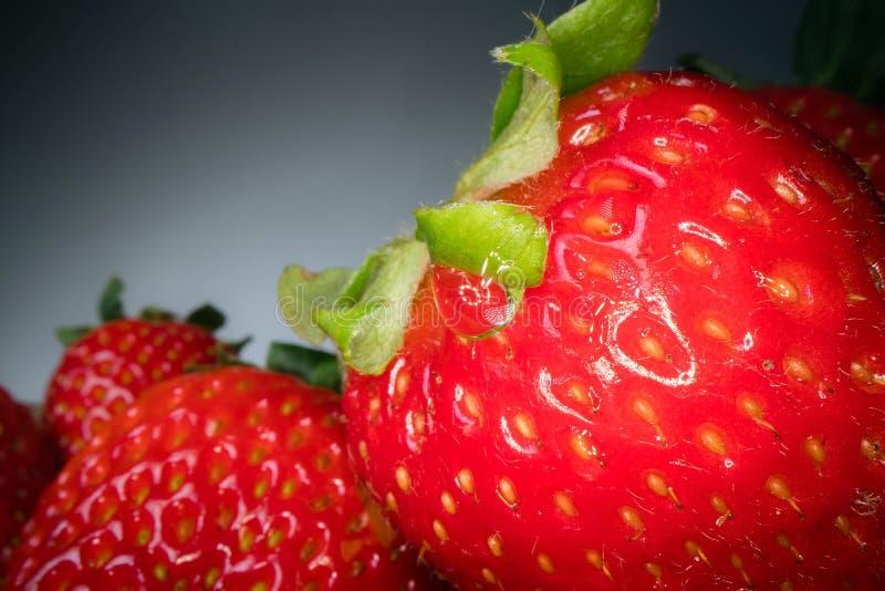 红色水多的草莓宏观射击在黑背景的 甜被收获的莓果背景,健康食品生活方式 库存图片