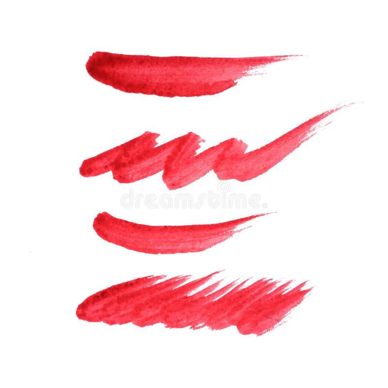 红色水彩绘画,手画刷子冲程 图库摄影