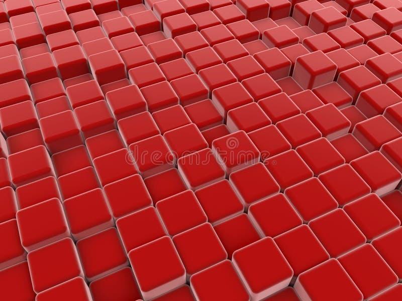 红色求抽象地板的立方 库存例证