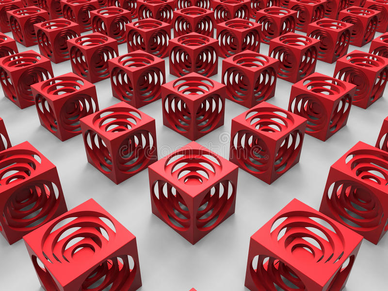 红色求抽象背景的立方 库存例证