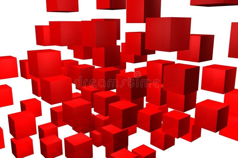 红色求背景的立方 免版税图库摄影