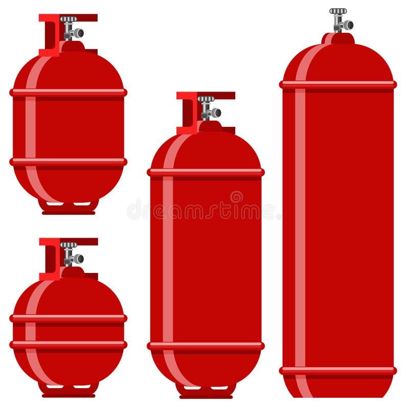 红色汽油箱象集合 向量例证