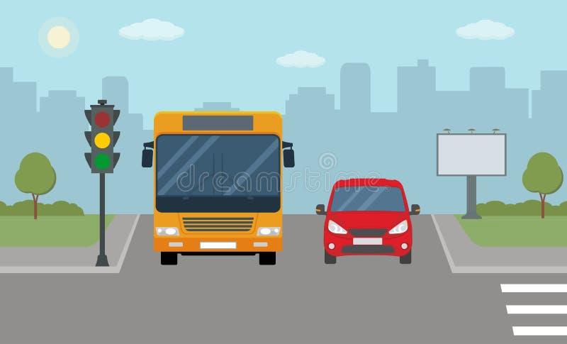 红色汽车和公共汽车停止了在红绿灯 向量例证