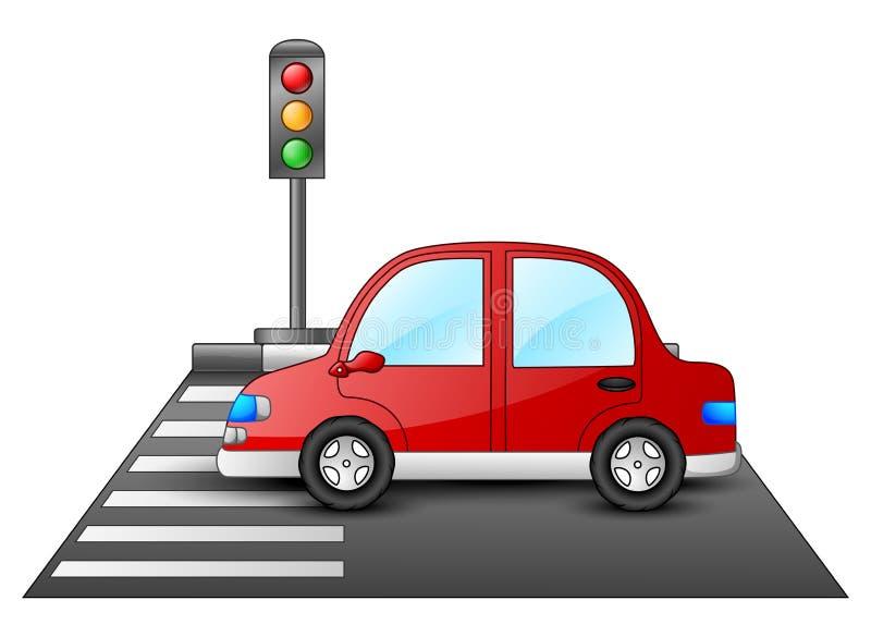红色汽车和红绿灯在一条行人交叉路 库存例证