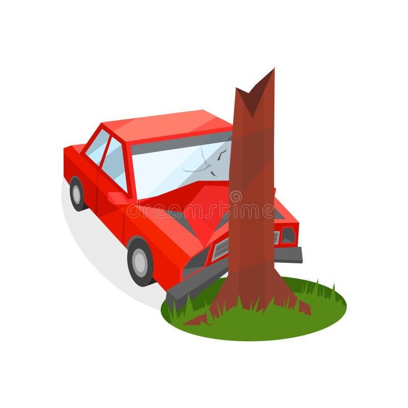 红色汽车失事了入树干 损坏的汽车 事故在反射性公路安全三角背心警告附近的被中断的汽车司机重点 运输和汽车保险题材 平的传染媒介象 库存例证