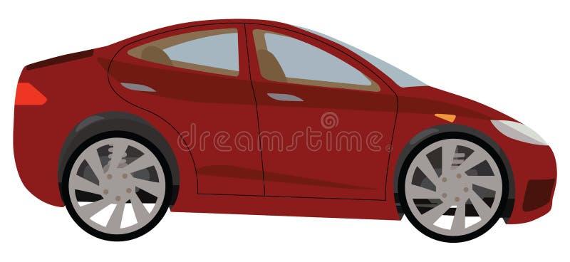 红色汽车 皇族释放例证