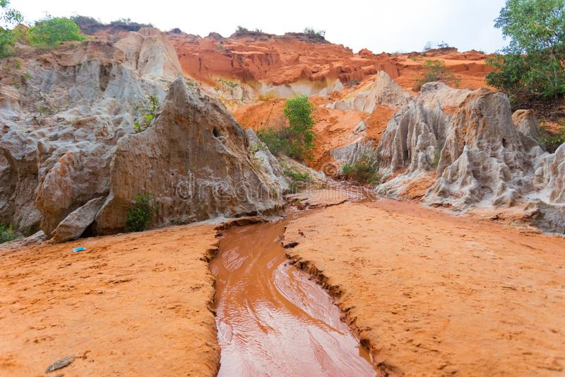 红色沙丘和红色沙子,美奈,藩切,越南 免版税库存图片