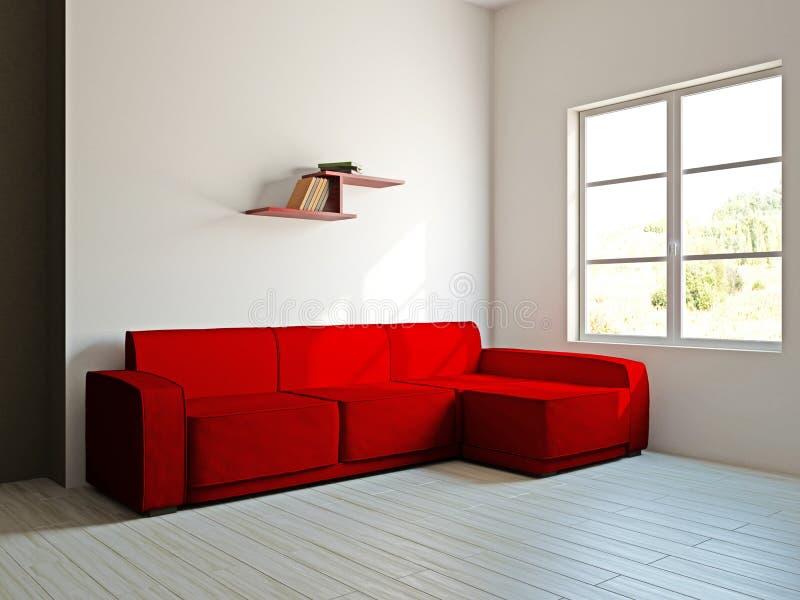 红色沙发和在客厅 向量例证