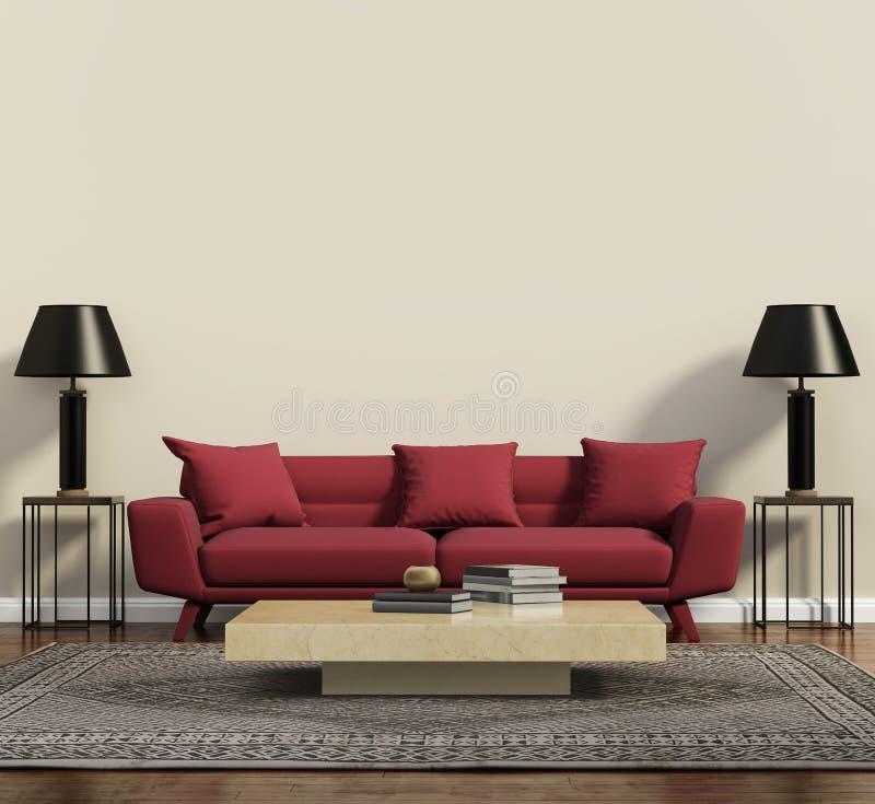 红色沙发在一个现代当代客厅 皇族释放例证