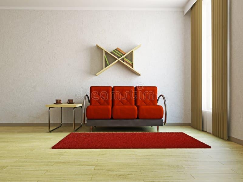 红色沙发在客厅 库存例证