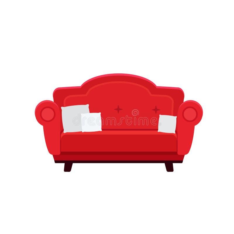 红色沙发的传染媒介例证有枕头的 向量例证