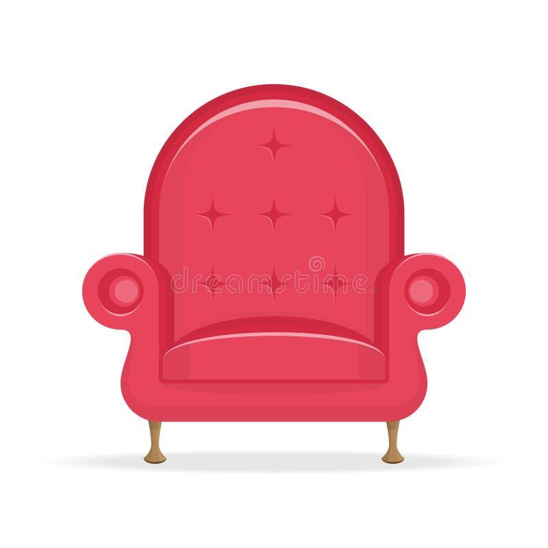 红色沙发葡萄酒 皇族释放例证