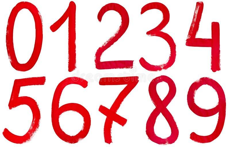 红色油漆写的阿拉伯数字手 皇族释放例证