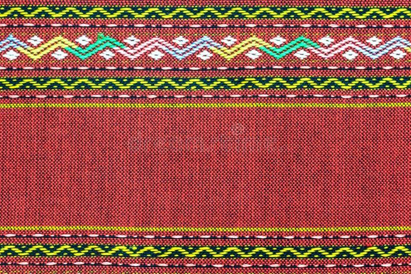 红色泰国丝织物样式 库存照片