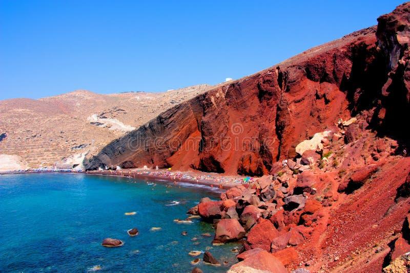红色海滩在圣托里尼 图库摄影