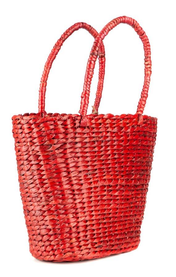 红色海滩袋子 免版税库存照片