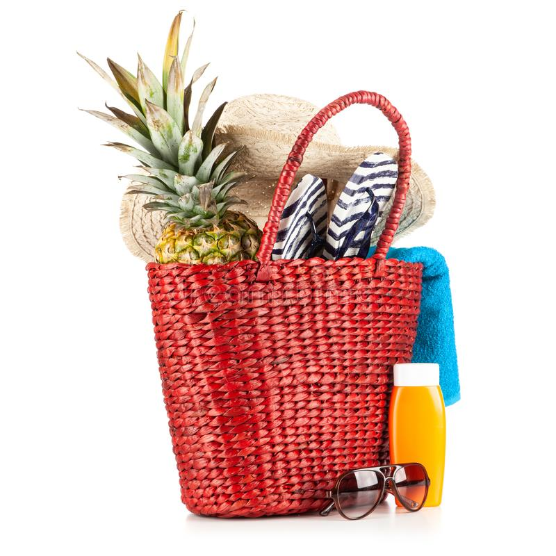 红色海滩袋子 免版税图库摄影