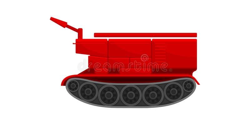 红色消火履带牵引装置推土机,紧急情况服务车在白色背景的传染媒介例证 向量例证