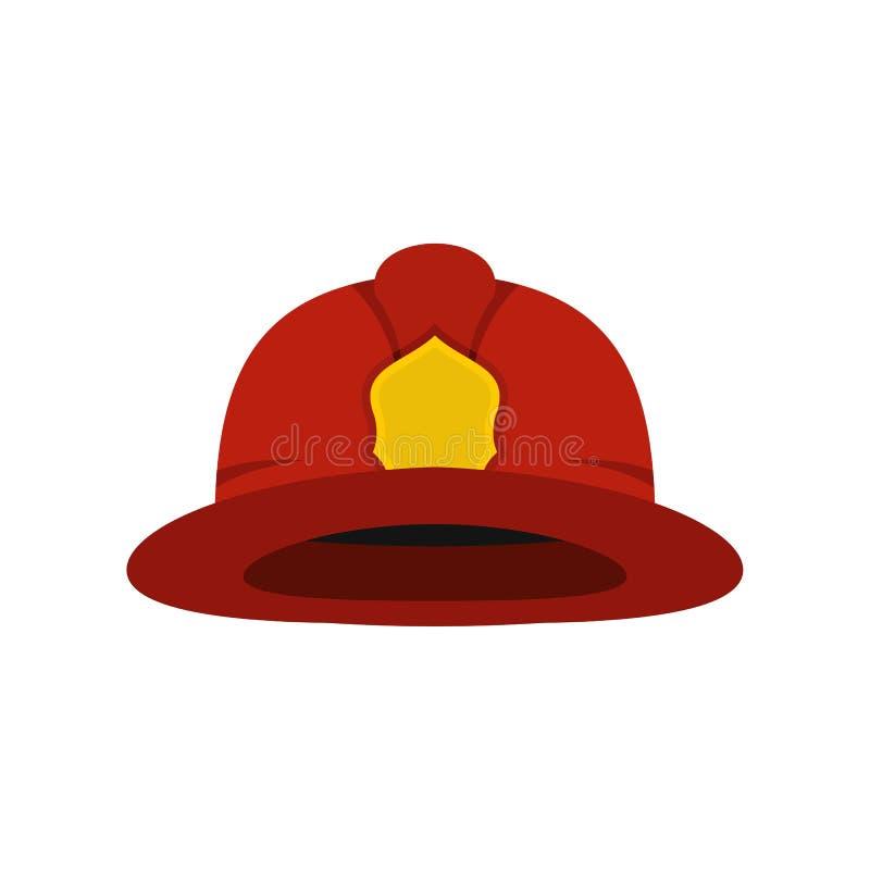 红色消防员盔甲象,平的样式 向量例证
