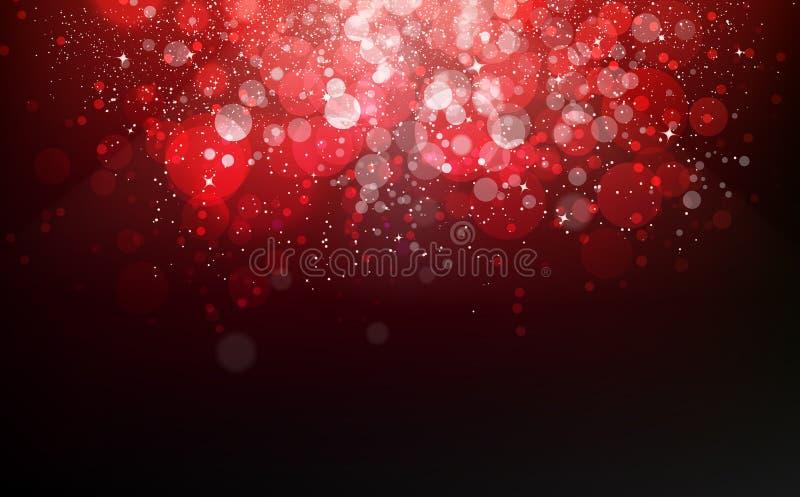 红色淡光星下跌的五彩纸屑不可思议的庆祝节日,尘土,发光的微粒驱散闪烁眨眼睛圣诞节奖 皇族释放例证