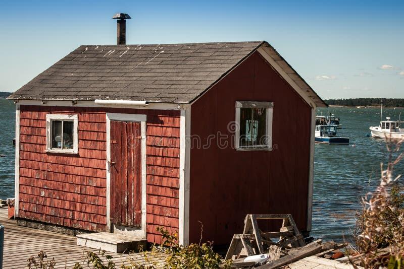 红色渔棚子 免版税库存图片