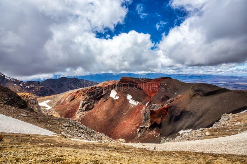 红色火山口在东格里罗国家公园,新西兰 免版税图库摄影