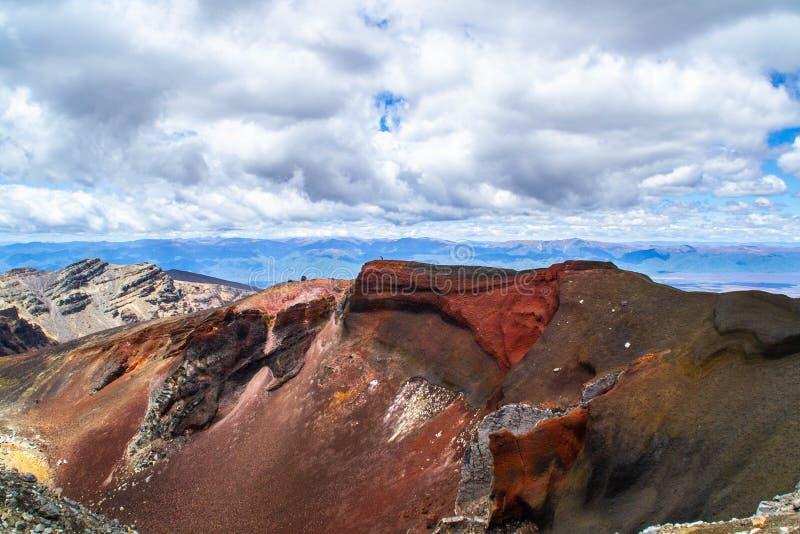 红色火山口,汤加里罗高山横穿,新西兰 免版税库存照片