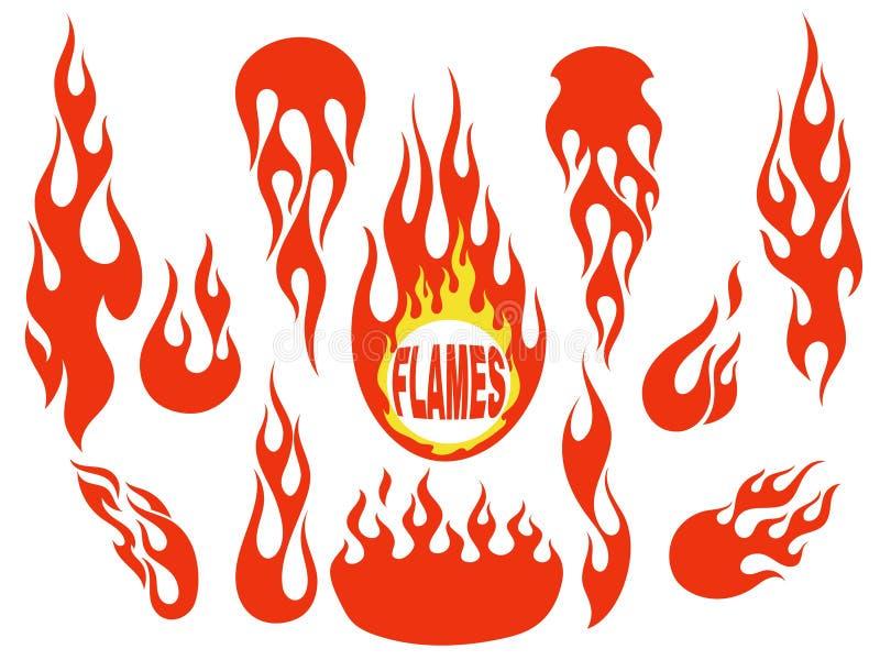 红色火焰元素集 向量例证