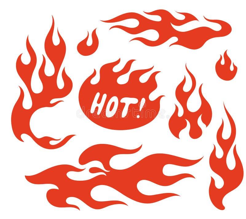 红色火焰元素 向量例证