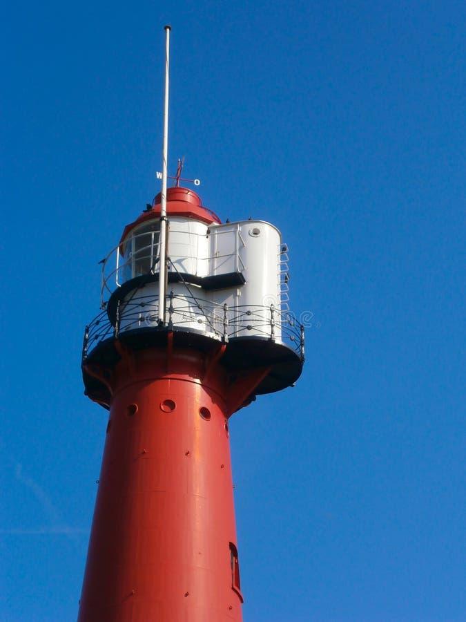 红色灯塔在Europoort,荷兰 免版税图库摄影