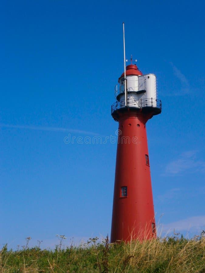 红色灯塔在Europoort,荷兰 免版税库存图片