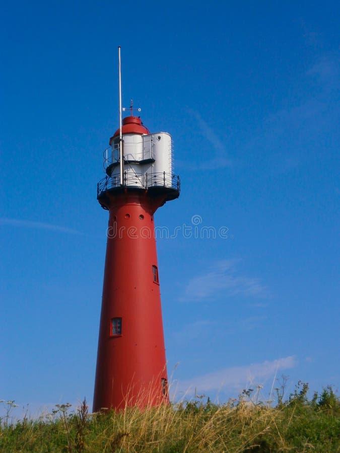 红色灯塔在Europoort,荷兰 库存照片