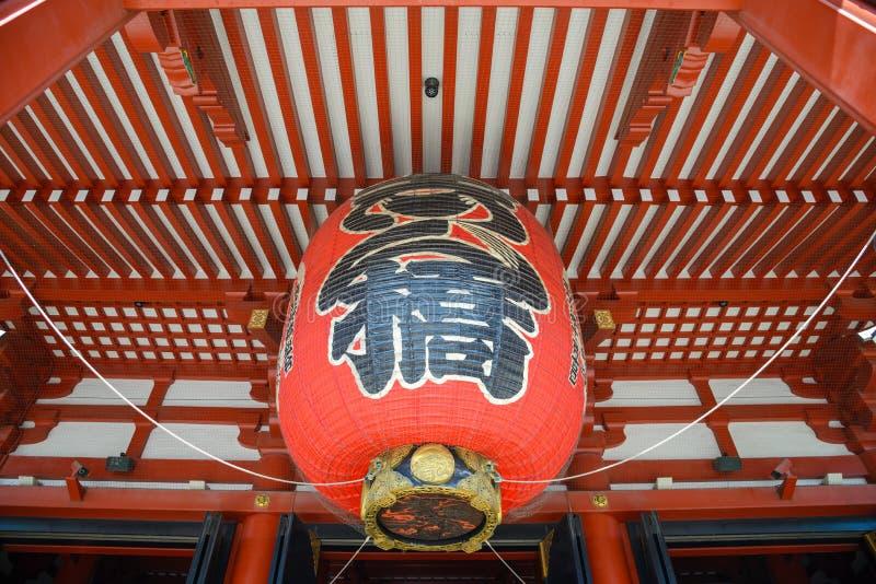 红色灯笼在Senso籍寺庙,浅草,日本 库存照片