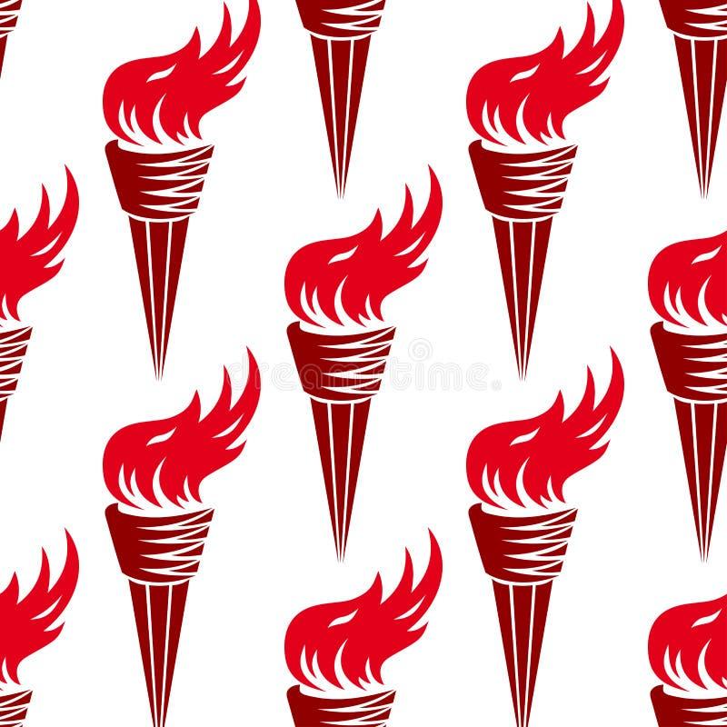 红色灼烧的火炬的无缝的样式 皇族释放例证