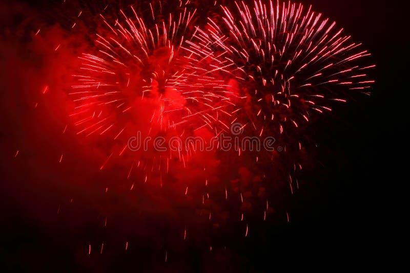 红色烟花 免版税图库摄影