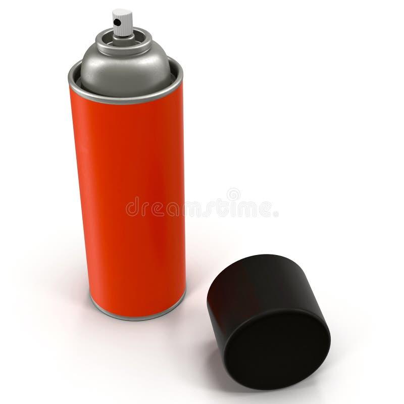红色烟雾剂喷射金属瓶在白色3D例证能隔绝 皇族释放例证