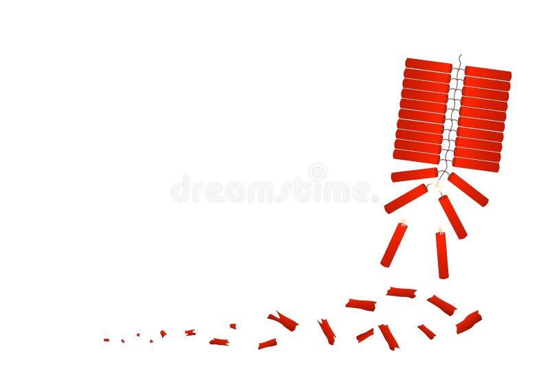 红色爆竹庆祝农历新年 皇族释放例证