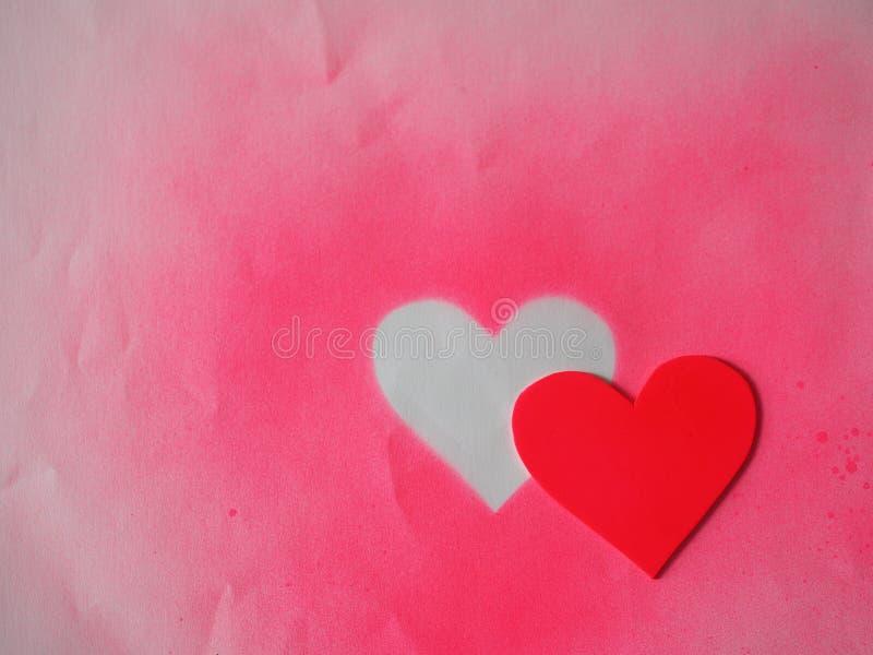 红色爱华伦泰标志心脏空间为写道 库存照片