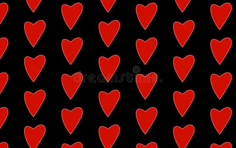 红色爱心脏的样式与白色的,内在,冲程冲程,固件对圣洁华伦泰的天黑背景的 皇族释放例证