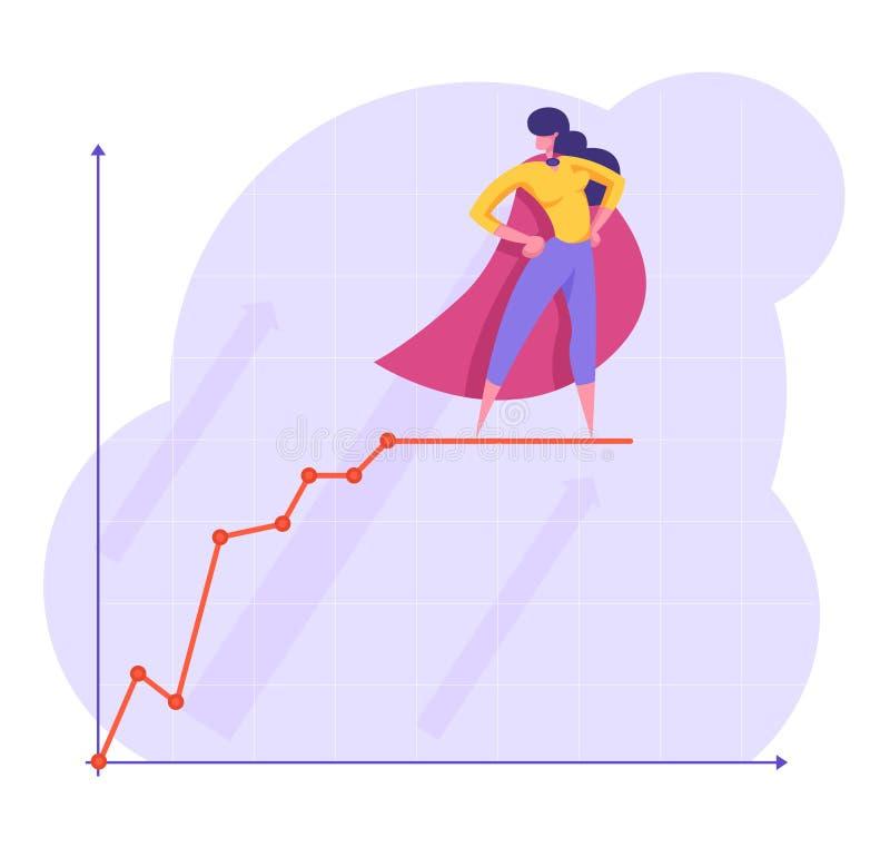 红色特级英雄斗篷的确信的女商人有在增长的图顶部的胳膊两手插腰的立场的 领导,数据分析 向量例证