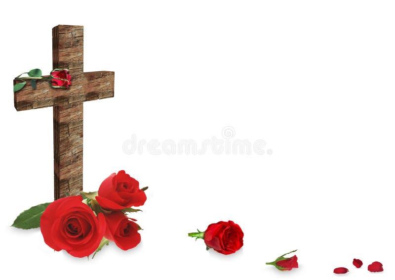 红色玫瑰和十字架在白色背景 免版税库存图片