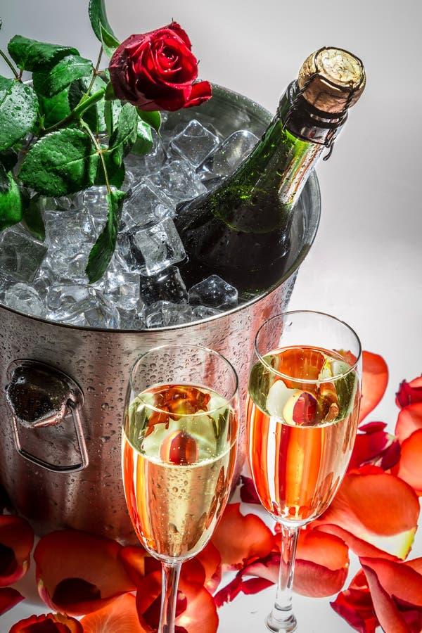 红色玫瑰和庆祝的冷香槟特写镜头  免版税库存图片