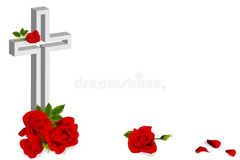 红色玫瑰和白色基督徒十字架 库存例证