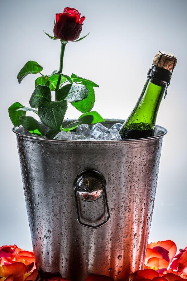 红色玫瑰和香槟为情人节 免版税库存图片