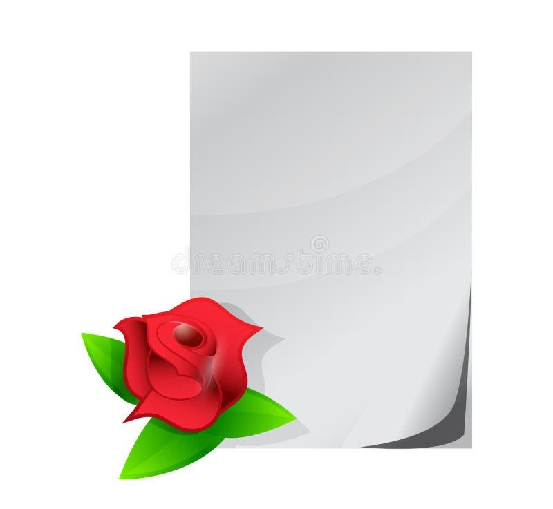 红色玫瑰情书例证设计 向量例证