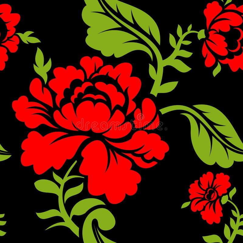 红色玫瑰无缝的样式 是能使用的另外花卉例证目的纹理 俄国民间装饰品 向量例证